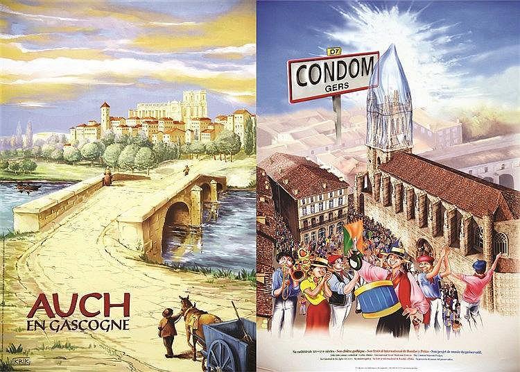 KRIK  Lot de 2 Aff / Posters : Auch & Condom     vers 1990