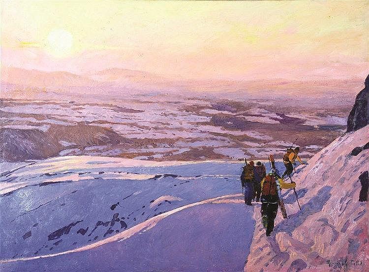 YACHELET AIMICE  Randonée dans les Alpes à Ski Huile sur Toile signée Aimicé Yachelet     vers 1950