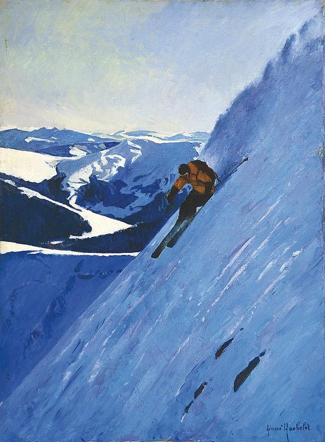 YACHELET AIMICE  Skieur dans la Neige Huile sur Toile signée Aimicé Yachelet     vers 1950