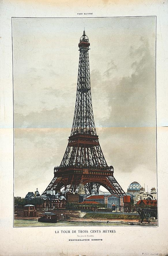 La Tour ( Eiffeil ) de 300 mètres vue prise du Trocadéro     vers 1900