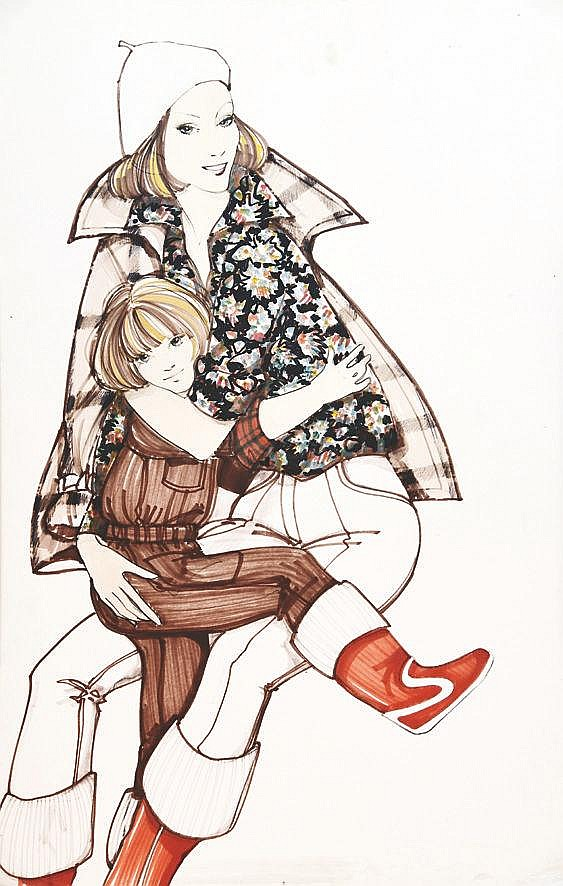 LACAZE A. Mère & Fille - Hiver vers 1970 - Gouache de mode / Fashion Gouache vers 1970