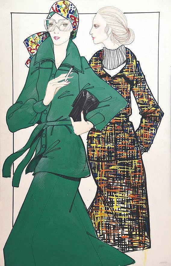 LACAZE A.  Les 2 amies - Hiver vers 1970 - Gouache de mode / Fashion Gouache     vers 1970
