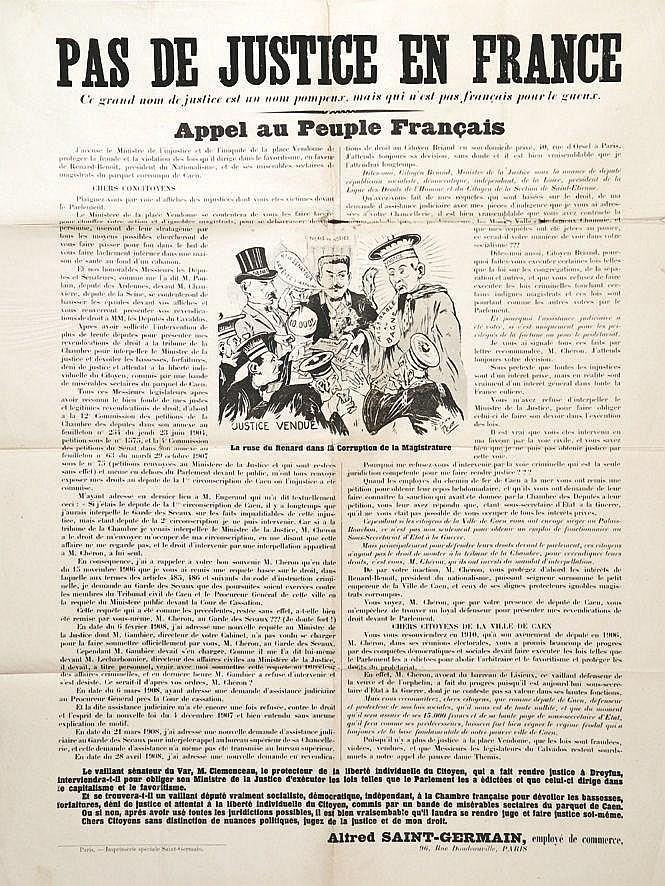 Alfred Saint Germain - Pas de Justice en France -Appel au Peuple     vers 1910  Caen (Calvados)