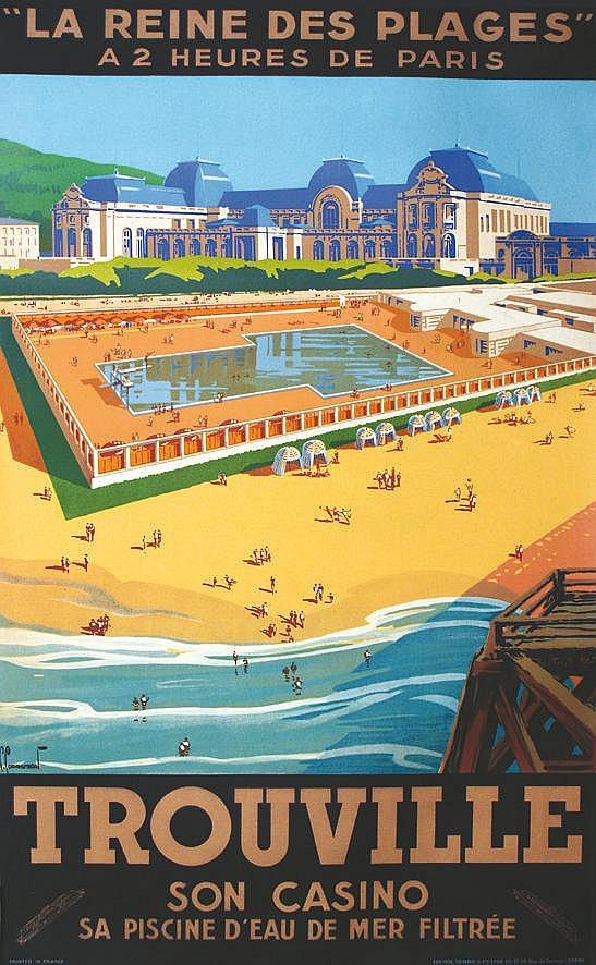 COMMARMOND PIERRE  Trouville - La Reine des Plages - Son Casino Sa Piscine d'Eau de Mer Chauffée - Affiche Encadrée     vers 1930