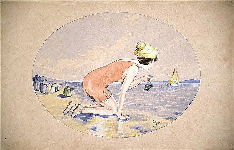 PEUZE A. Deauville Gouache signée A. Peuzé vers 1900