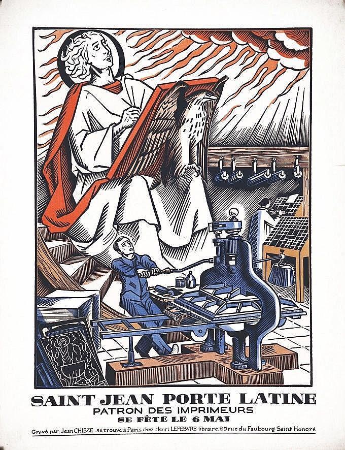 CHIEZE JEAN  Saint Jean Porte Latine Patron des Imprimeurs 6 Mai     vers 1930