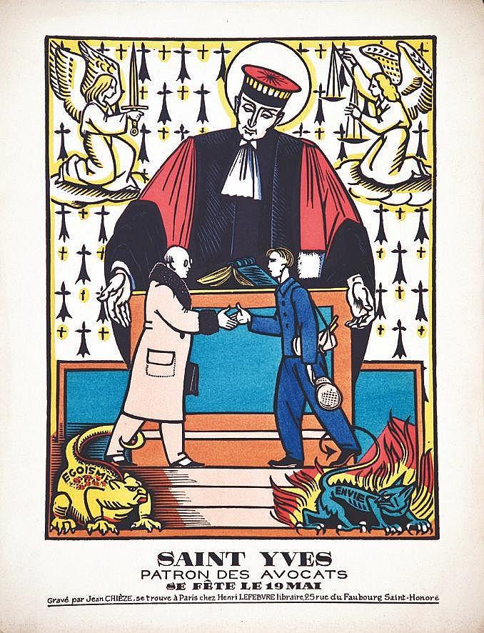 CHIEZE JEAN  Saint Yves Patron des Avocats 19 Mai     vers 1930