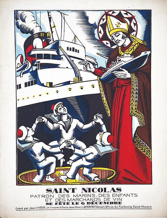 CHIEZE JEAN Saint Nicolas Patron des marins, desc enfants, et des marchand de vin 6 Décembre vers 1930