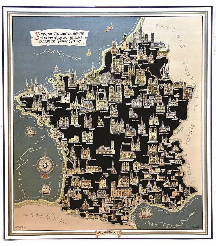 DUMONT PHILIPPE & BALTUS J. ADO  Les Cathédrales -   Carte de France & Belgique & Luxembourg  de leurs situation Géographique     vers 1950