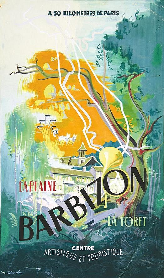 GOSSELIN ALAMESSE Barbizon - La Plaine La forêt Gouache signée Gosselin vers 1930