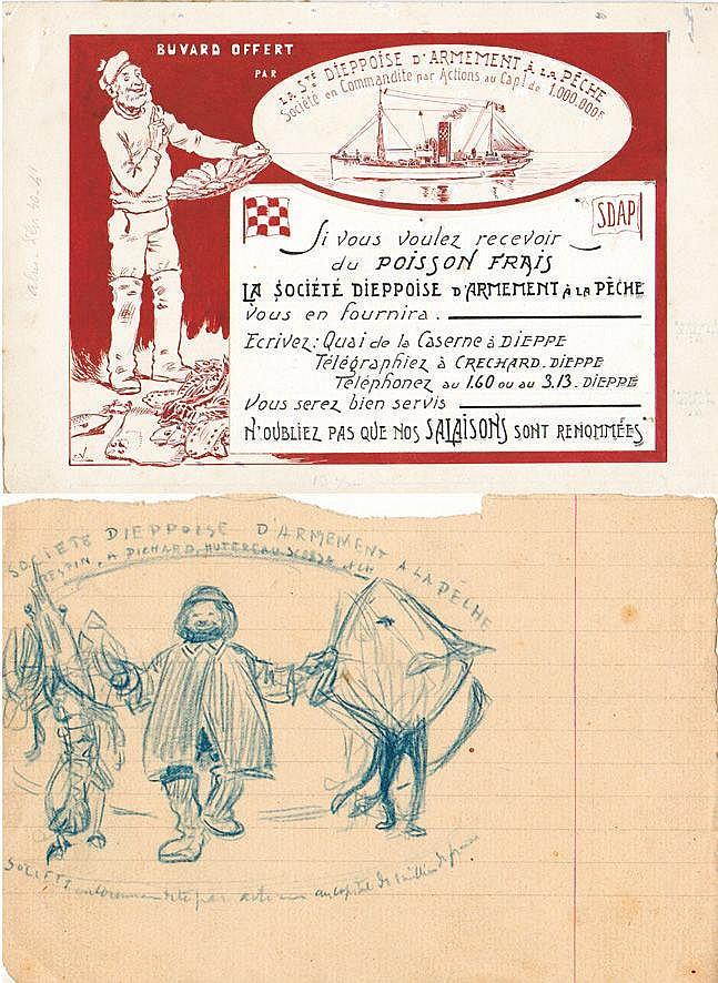 VAVASSEUR Société Dieppoise D'Armement à la Pêche 1 Gouache & 1 Dessin au crayon vers 1900