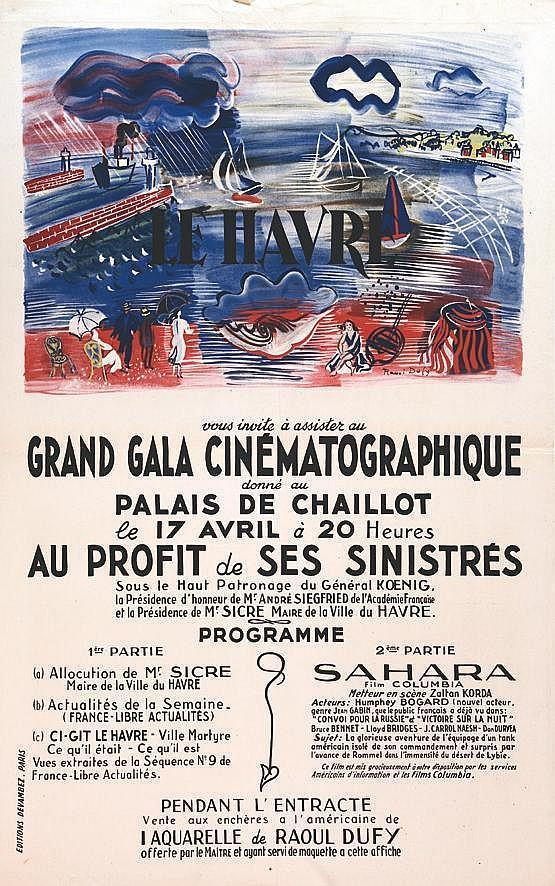 DUFY RAOUL Le Havre Grand Gala Cinematographique Palais de Chaillot 1945