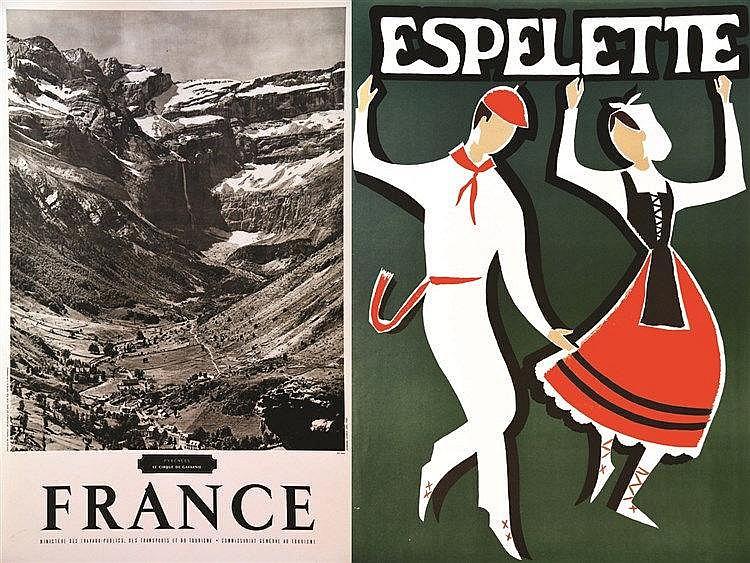 lot de 2 Aff : Pyrénées France - Le Cirque de Gavarnie & Espeleta
