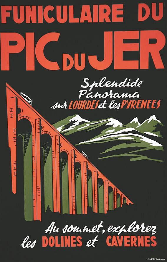 Lourdes Funiculaire du Pic du Jer vers 1950