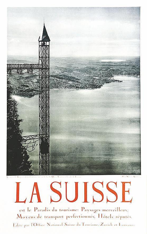 PHOTO : WEHRLI KILCHBERG  Ascendeur du Burgenstock - vue sur Lac des 4 Cantons et la ville de Lucerne     vers 1930