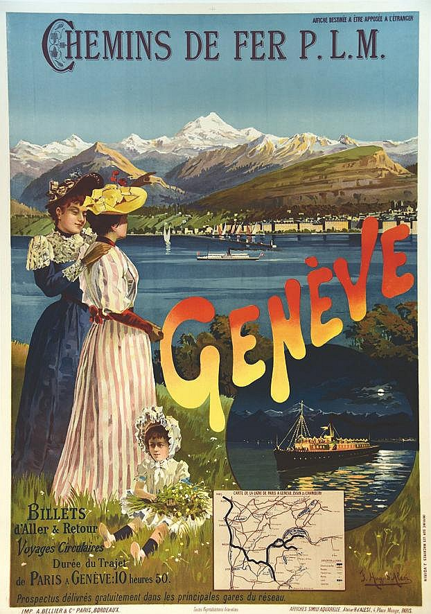 HUGO D' ALESI  F.  Genéve - Billets D'aller & RetuorVoyages Circulaires     vers 1900
