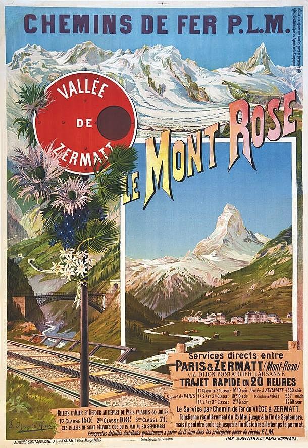 HUGO D' ALESI  F.  Le Cervin - Zermat - 51195 Vallée de Zermatt - Le Mont Rose     vers 1910