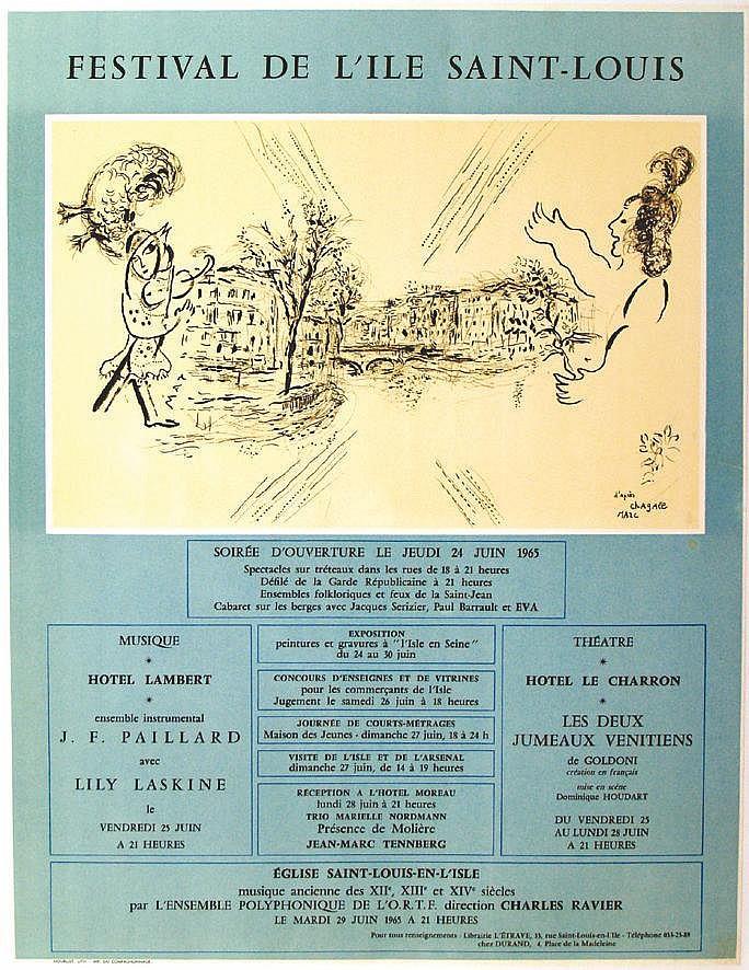 CHAGALL MARC  Festival de L'Ile Saint Louis     1965