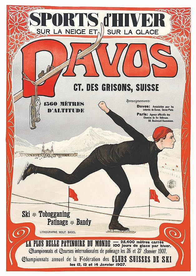 KOCH WALTER Davos - Sports d'Hiver sur la Neige et sur la Glace Davos 1907 - Ct. Des Grisons, Suisse 1907