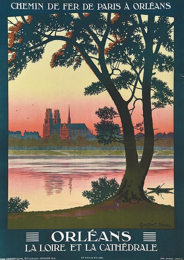 CONSTANT - DUVAL  Orléans - La loire et la Cathédrale     1925