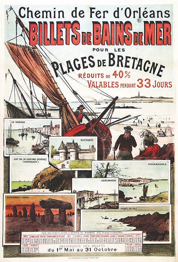 TAUZIN LOUIS Le Croisic Guérande -Plages de Bretagne - Billets de Bains de Mer vers 1900