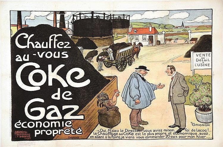 GRIGNON PF  Chauffez vous au Coke de Gaz     VERS 1900