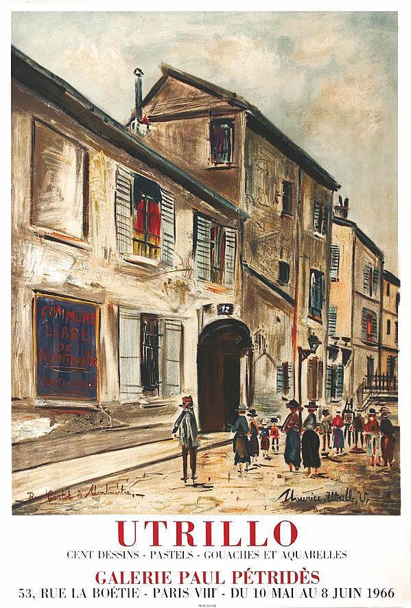 UTRILLO MAURICE  Rue Cortot à Montmartre par Maurice Utrillo     1966