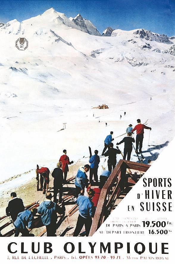 PHOTO : CAP  Kandersteg - Sports d'Hiver en Suisse - Club Olympique     vers 1950