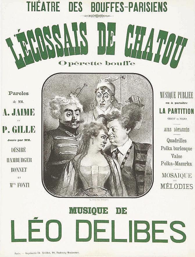 Châtou -L'Ecossais de Chatou. Opérette Bouffe, Musique de Léo DELIBES, Théatre des Bouffes-Parisiens     1869  Châtou ( Yvelines )