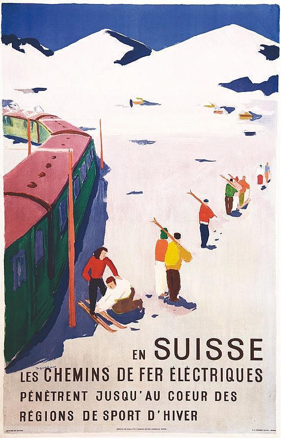 JEGERLEHNER HANS  En Suisse les Chemins de Fer..pénètrent jusqu'au cœur des régions des Sports d'hiver     vers 1950