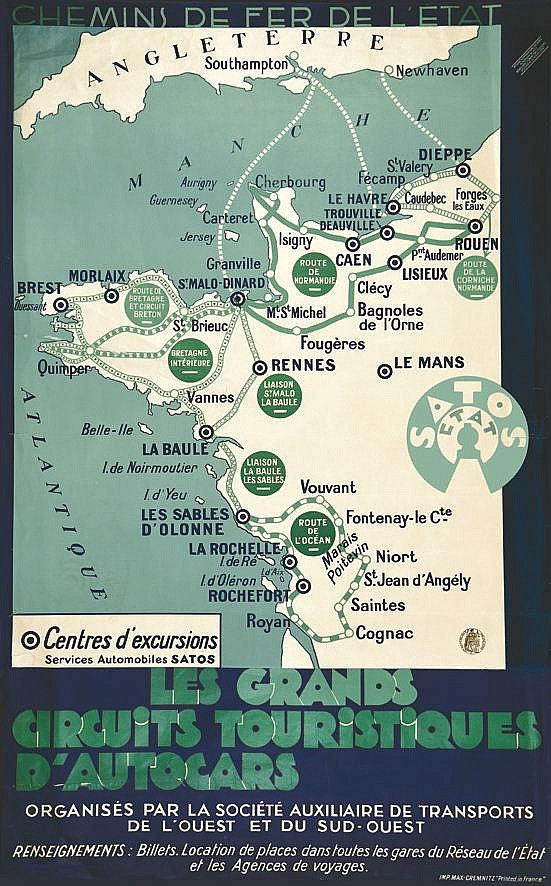 Les Grands Circuits Touristiques d'Autocars - SATOS Etat     vers 1930