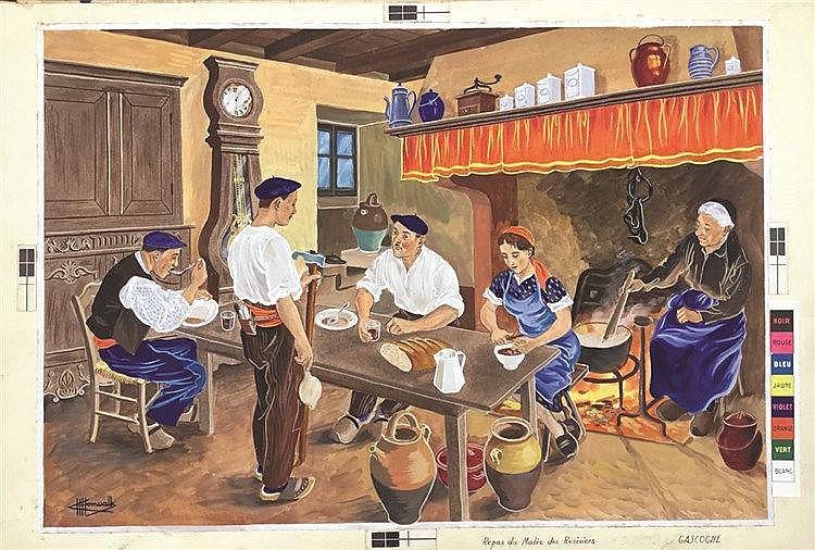 HOMUALK CHARLES Repas du matin des Résiniers Gouache signée Charles Homualk vers 1930