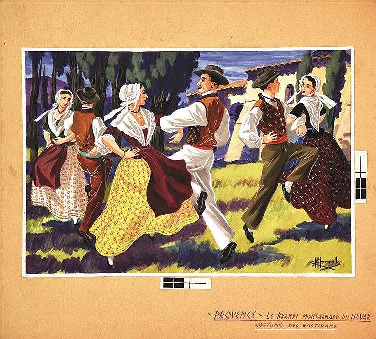 HOMUALK CHARLES Le Brandi Montagnard du Haut Var Gouache signée Charles Homualk vers 1930