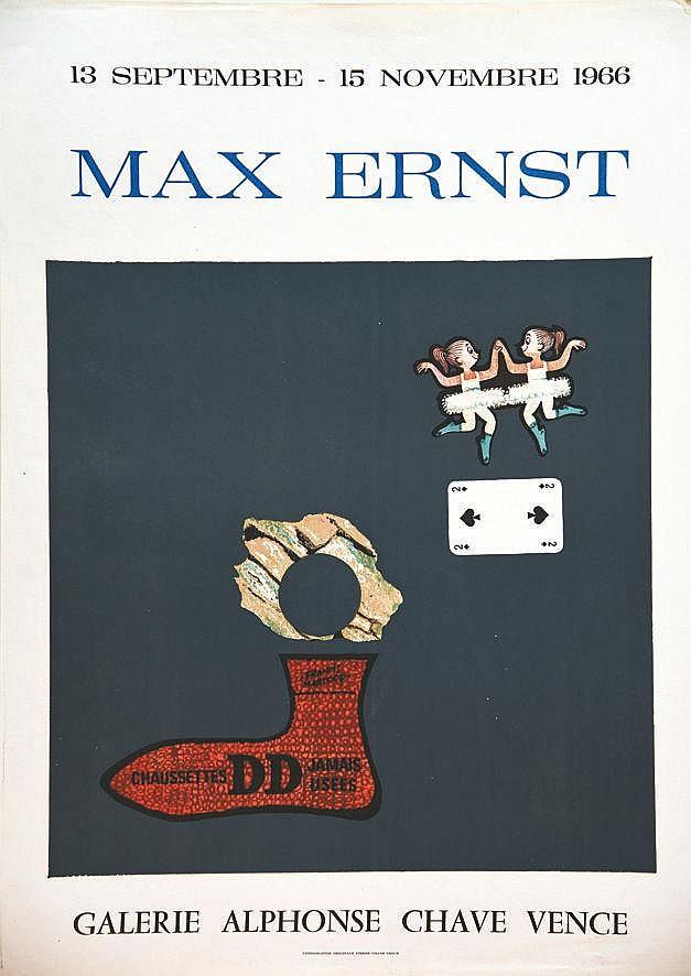 ERNST MAX Chausettes DD Jamais Uséees par Max Ernst - Galerie Alphonse Chave - Lithographie Originale de Ernst 1966 Vence
