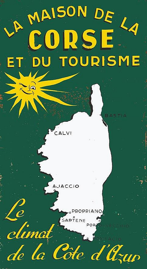 GUERIN L. La Maison de la Corse et du Tourisme - Peinture / Painting on / sur Isorel vers 1950