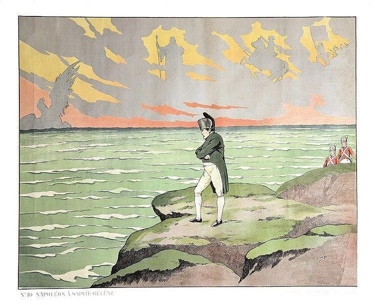 JOB  Napoléon à st Hélène - Rare Affiche Scolaire de JOB vers 1900     vers 1900