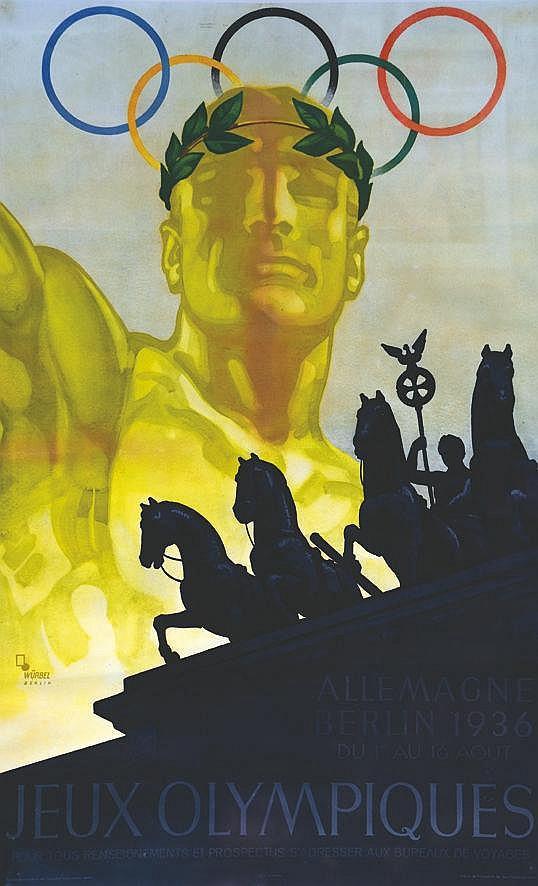 WURBEL Jeux Olympiques - Allemagne Berlin 1936 - Affiche Encadrée / Poster Framed 1936