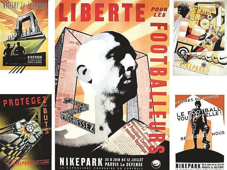 Lot de 5 affiches NikePark République Populaire du Football - très rare série complète     1998