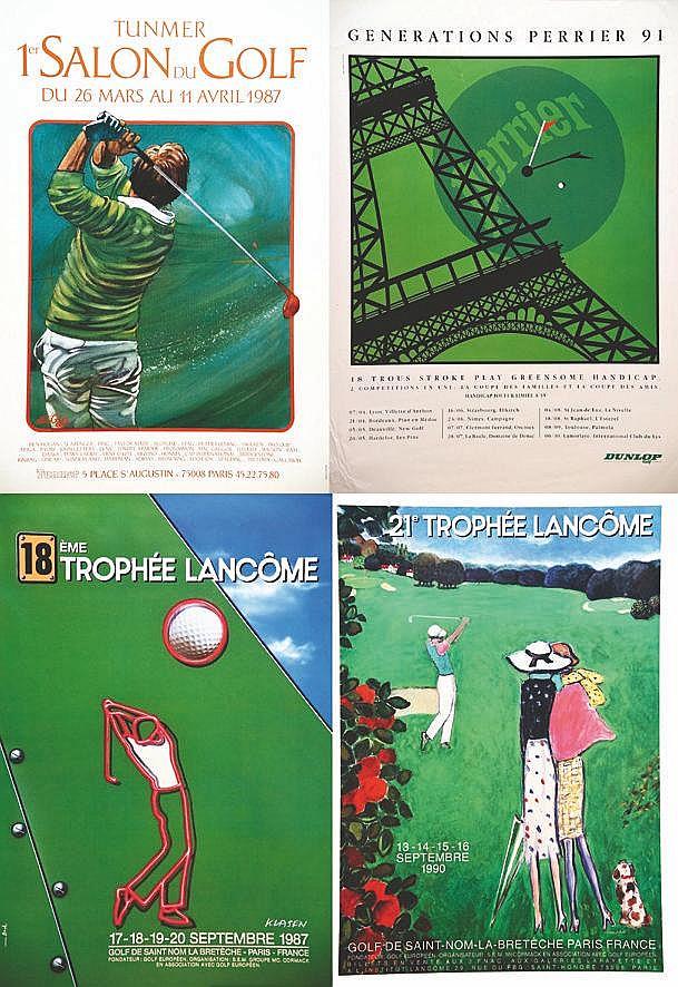 Lot de 4 Affiches / Posters : Génération Pérrier - 1 er Salon Golf - 18 ème & 21 ème Trophé Lancôme 1987, 1990 , 1991