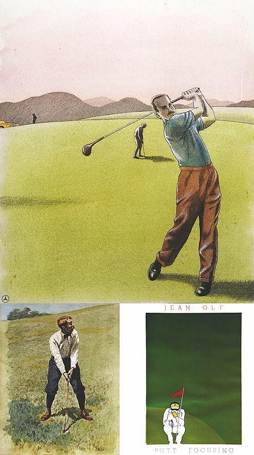 Lot de 3 Affiches Encadrées de Golf     vers 1990