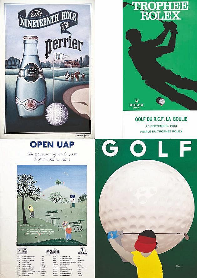Lot de 4 Aff / Poster : Trophée Rolex - Perrier  Golf Européen Open UAP     vers 1980