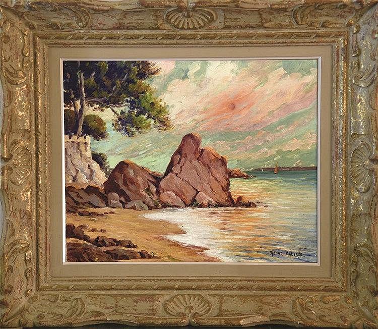 GALERNE RAOUL  Cannes La Boca  Huile sur Toile signée de Raoul Galerne Encadrée     vers 1930
