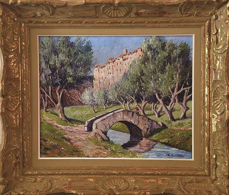 GALERNE RAOUL  Tourettes sur Loup  Huile sur Toile signée de Raoul Galerne Encadrée     vers 1930