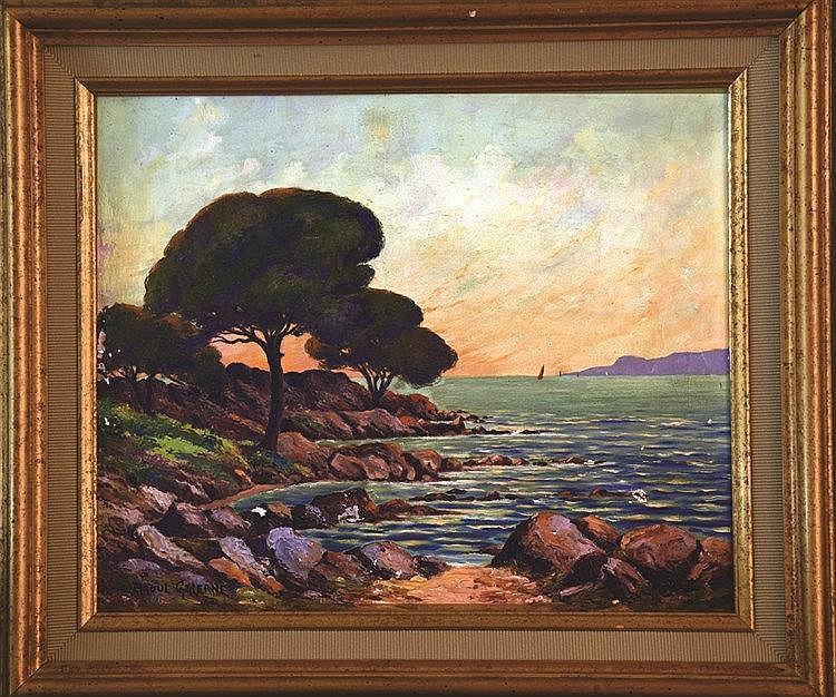 GALERNE RAOUL  Cannes - Ile de Sainte Margueritte - Iles de Lérins Huile sur Toile signée de Raoul Galerne Encadrée     vers 1930