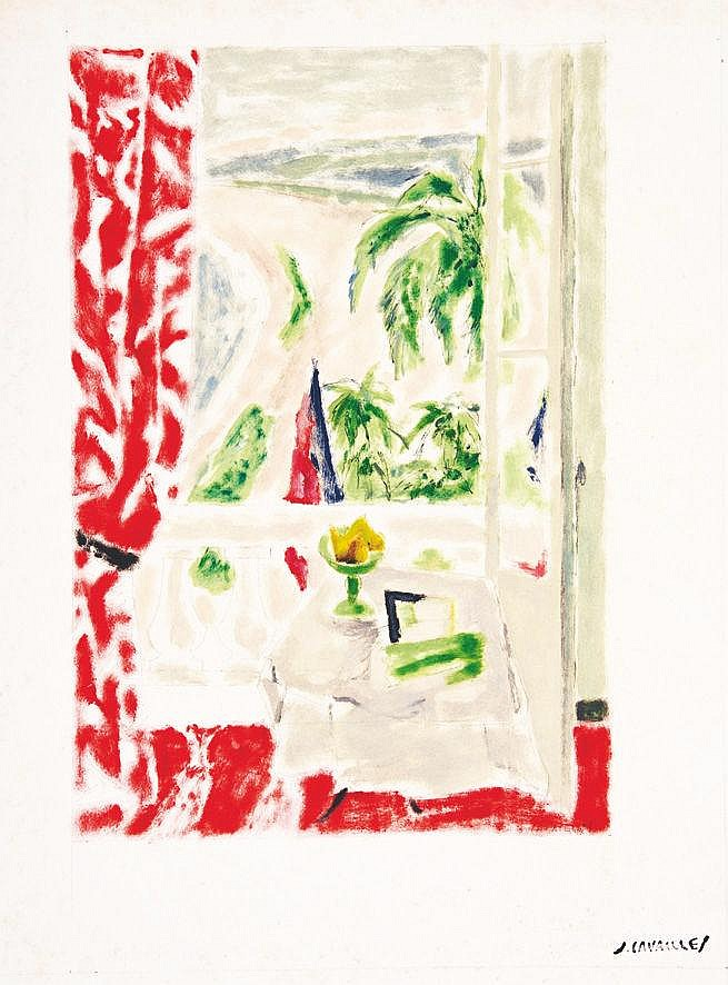 CAVAILLES JULES  Cannes fenêtre ouverte sur la Plage -  Gouache signée du tampon J Cavailles     vers 1950