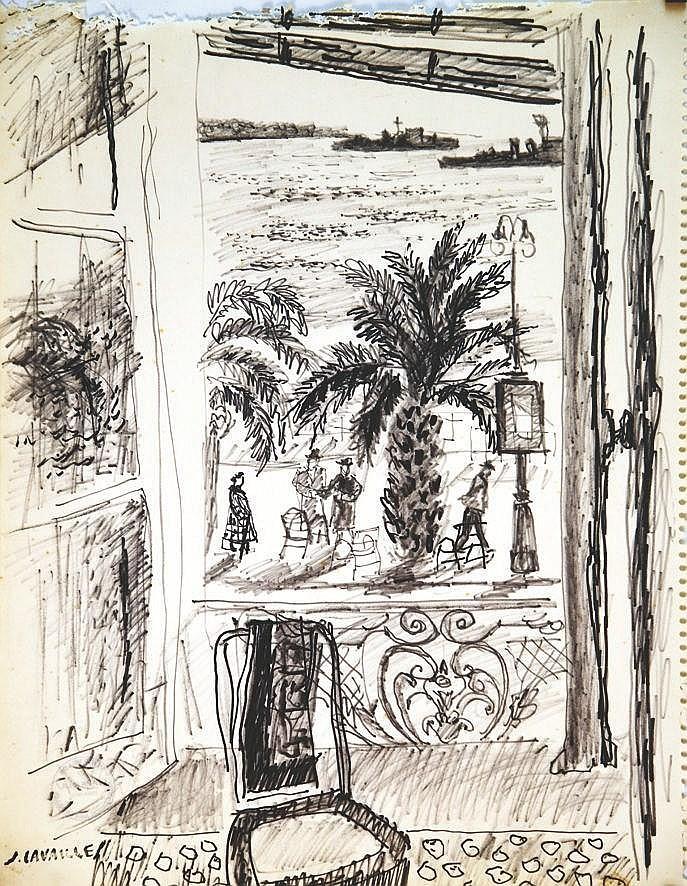 CAVAILLES JULES  Fenêtre Ouverte sur la Baie de Cannes dessin au feutre signé du tampon J Cavailles     vers 1970