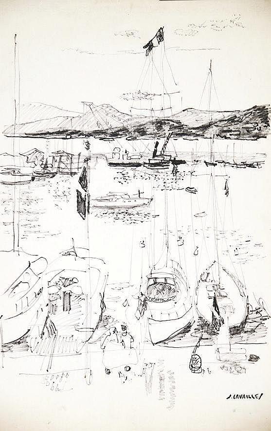 CAVAILLES JULES  Port de Cannes dessin au Feutre signé du tampon J Cavaillès     vers 1960