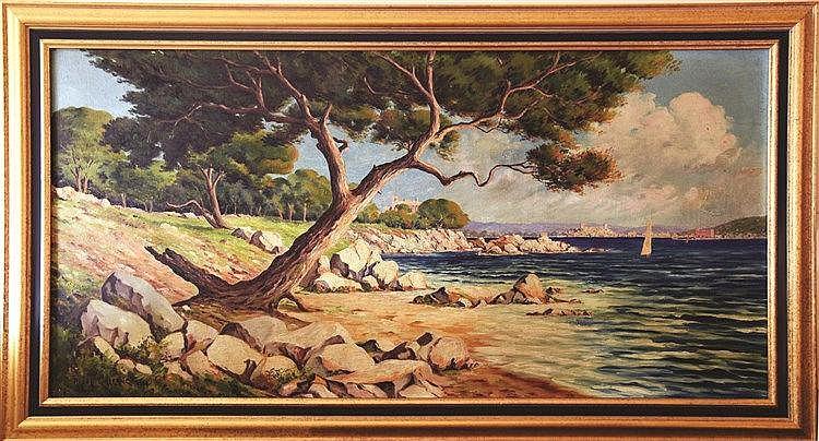 GALERNE RAOUL  Bords de mer vers Cannes  Huile sur Toile signée de Raoul Galerne Encadré     vers 1930