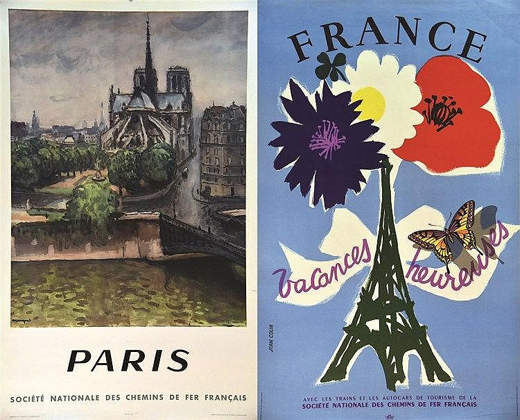 COLIN JEAN &  MARQUET ALBERT  lot de 2 Affiches : Paris - France Vacances Heureuse     1950 & 1951