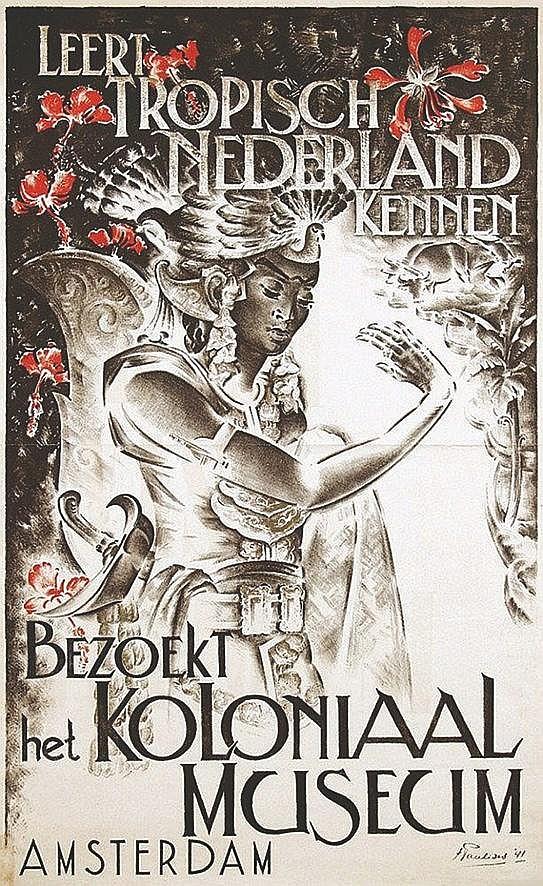 PAULIDES HENRDRIK  Kolonial Museum Amsterdam - Rare affiche coloniale hollandaise / rare holland colonial poster     1941